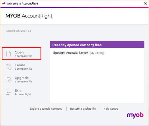 MYOB open library r